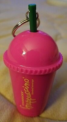 NEW Starbucks PINK Frappuccino Keychain Cold Cup Tumbler w/Straw Keyring