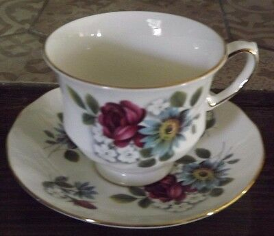 Queen Anne Summer Flowers Vintage Bone China Tea Cup and Saucer Pattern 8468