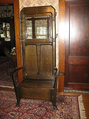 Antique Tiger Oak Hall Tree – Original Condition – Beveled Mirror  Umbrella Ring