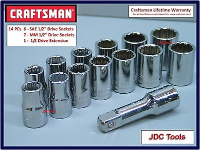 Craftsman 14 pc 1/2 Drive Socket and Extension set *NEW*