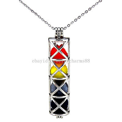 K175 Silver Funnel Cross Rectangle Locket Necklace Pearl Cage Stainless Chain