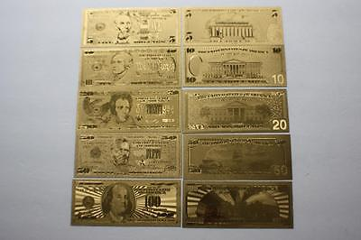 GOLD US BANKNOTE SET $5 $10 $20 $50 $100 PURE 99.9 24k GOLD COLLECTION