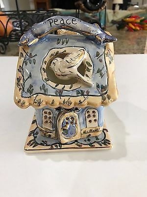 "2001 Blue Sky Clayworks Heather Goldminc ""Peace"" Tealight Candle House Excellent"