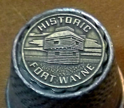 HISTORIC FORT WAYNE INDIANA large pewter thimble Top is in hi-relief