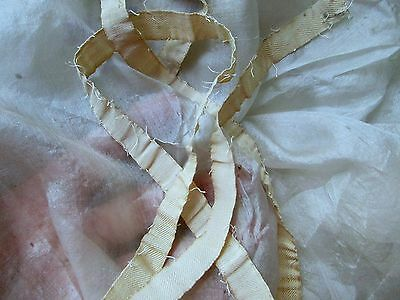 "HTF ANTIQUE VICTORIAN  FLAT COTTON TWILL BIAS RIBBON TRIM 38"" x 1/2"" PATINA ORIG"