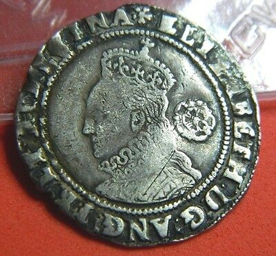 TUDOR PERIOD 1574 ELIZABETH 1ST SILVER SIXPENCE ROSE BESIDE MM EGLANTINE(ju10)