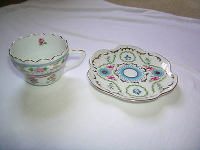 "CHINA  small  2 x 2.5"" Tea Cup and 5"" Saucer Pink Roses Gold Trim blue green"