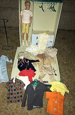 1960's Ken by Barbie Doll VINTAGE lot - wire stand original Outfits Travel case