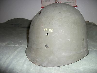 """WWII US M-1 helmet liner with """"MAINE"""" stamped on the front"""