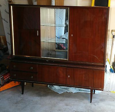 Vtg Mid Century Modern Rare Lacquered TEAK WOOD Locking Buffet China Cabinet!