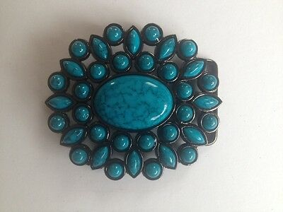 """Belt Buckle - Fashion Western Oval Buckle Turquoise Stones To Suit 1.5"""" Belt"""
