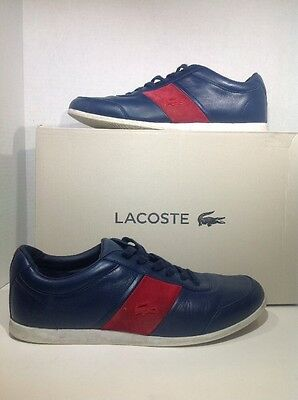 Lacoste Embrun 316 Men's Size 10.5 Blue Red Leather Sneakers Shoes ZK-2523