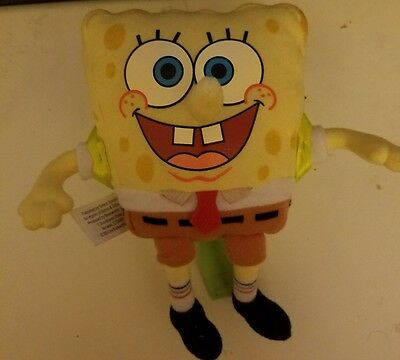 Embroidered Face Spongebob Squarepants stuffed Book Backpack PLUSH Doll toys