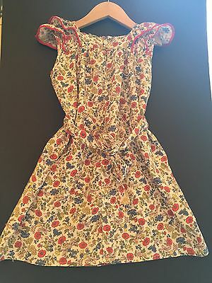 Vintage 1940/50's Dress Smock Pinafore Floral Multi Cotton Need Some TLC