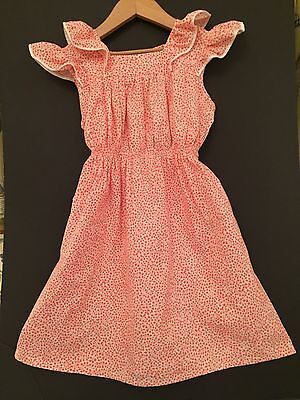 Vintage 1950's Girl Dress Smock Pinafore  Old Stock White/orange Impeccable