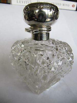 3x ANTIQUE SILVER TOPPED PURFUME BOTTLES CUT GLASS EARLY 1900s