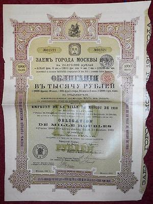 30594 RUSSIA 1910 City of Moscow 1000 Roubles Bond - no coupons