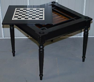 Lovely Ebonised Butler Specialty Company Games Table Card Chess Checkers