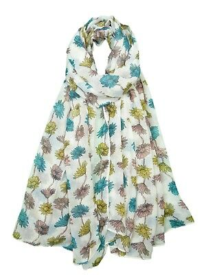 Ladies Womens Flower Poppy Daisy Scarf Pretty Floral Teal Blue White Mustard