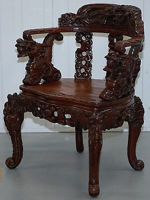 Antique Circa 1870 Qing Dynasty Carved Rosewood Dragon & Lion Foo Dogs Armchair