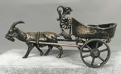 Antique Rogers & Bro Silverplate Figural Salt Cellar 149 - Goat Pulling a Cart