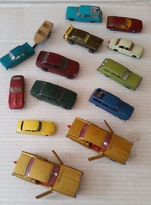 Matchbox, Lesney, Corgi selelection of 13 cars and 1 boat - Lot 5A