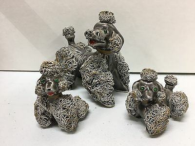 Vintage Grey Spaghetti Glass Poodle Family of 3 Unique Coloring and Crystal Eyes