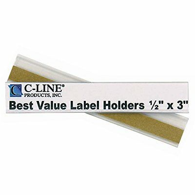 C-Line Best Value Peel and Stick Shelf/Bin Label Holders, Inserts Included, 1/2