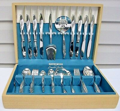 60 Piece Set MAGIC MOMENT 1958 Silverplate Flatware in Chest Oneida Nobility