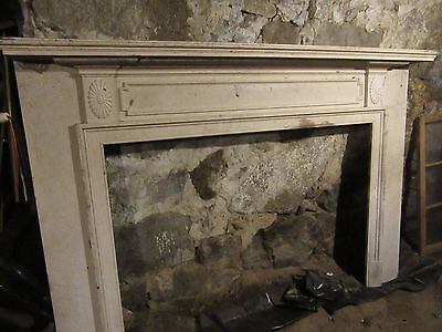 Original Vintage Antique Wood Fireplace Mantle, white paint, nice details