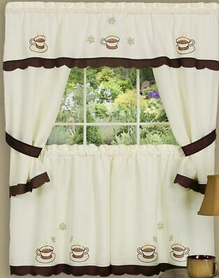 KITCHEN CURTAINS EMBELLISHED Cottage Set, COFFEE CUPPA JOE ...