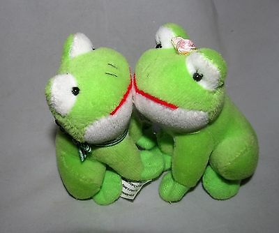 Mini Miniature Frogs Kissing Prince Princess Fairytale Plush Toy Figure Doll Set