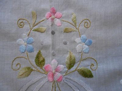 Stunning Vintage Lawn Hand Embroidered Tablecloth