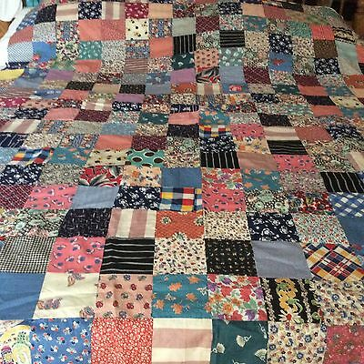 Vintage Antique Cotton Quilt top hand stitched