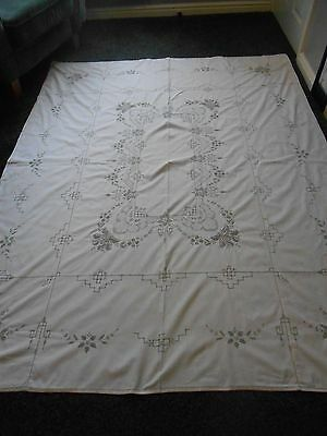 Beautiful Cream Cotton Ladderwork / Embroidered Tablecloth