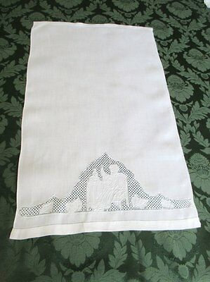 Antique Linen Hand Guest Towel-Figures In Design