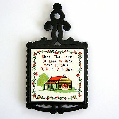 Trivet Tile Cast Iron Japan Bless this House Prayer 5 x 9 Ceramic Wall Hanging 1