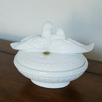 Westmoreland Milk Glass Doves on a Nest Covered Dish