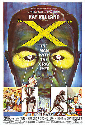 """X"" The Man With X-Ray Eyes Movie Poster Print - 1960 - Sci-Fi - 1 Sheet Artwork"