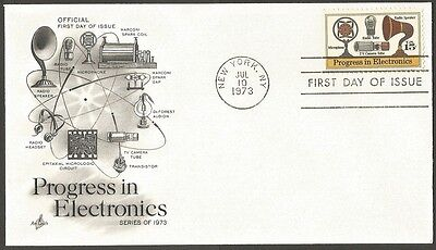 Us Fdc 1973 Progress In Electronics 15C Stamp Ac First Day Of Issue Cover Ny