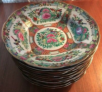 Lot Of 11 Rose Famille Chinese Dinnerware Large Bowls