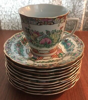 Lot Of 10 Rose Famille Chinese Dinnerware Teacups And Saucers