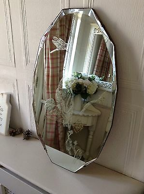 Vintage Art Deco Shabby Chic Etched Kingfisher Birds Bevelled Frameless Mirror