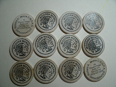 12 Wooden Nickels Tokens, Native American Indian, Advertising