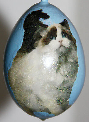 gourd Easter egg, garden or Christmas ornament with ragdoll cat