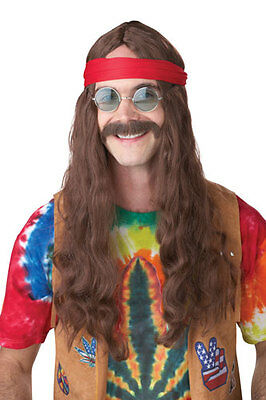 Brown Hippie Man Wig And Moustache for Halloween Costume