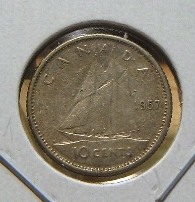 1957~~Canadian Ten Cents~~Silver~~Scarce~~Canada