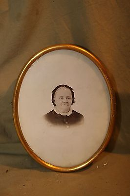 Antique Gesso based Gold 7x9 Oval Frame w Losses B&W Photo Portrait