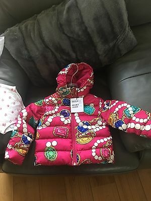 Moschino Baby Girls Duck Down Bubble Jacket In Pink With Jewel Print Age 18/24