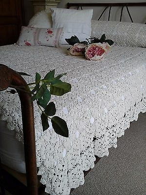 Antique French c1920 Textile ~Hand/Needle Crochet Lace Bed coverlet/Table topper